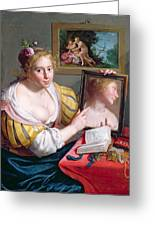 Girl With A Mirror, An Allegory Greeting Card