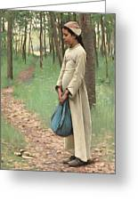 Girl With Bindle Greeting Card