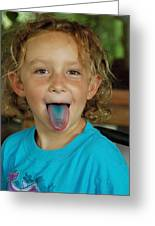 Girl With Blue Tongue Greeting Card