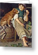 Girl With Dog Greeting Card
