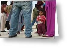 Girl With Family At Taj Mahal Greeting Card