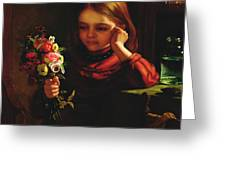Girl With Flowers Greeting Card by John Davidson