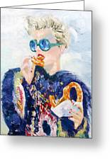 Girl With Glasses Eating Pretzel - Oil Portrait Greeting Card