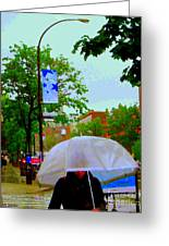 Girl With Large Umbrella Its Raining Its Pouring April Showers Montreal Scenes Carole Spandau Art Greeting Card