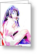 Girl With Lollipop Greeting Card