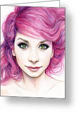 Girl With Magenta Hair Greeting Card