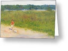 Girl Walking Dog Greeting Card