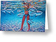 Girl With Silver Barbs Greeting Card