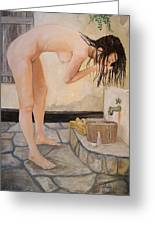 Girl With The Golden Towel Greeting Card