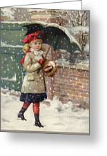 Girl With Umbrella In A Snow Shower Greeting Card