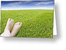 Girls Feet On Grass With Flowers Greeting Card