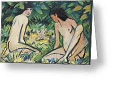Girls In The Open Air Greeting Card by Otto Mueller or Muller