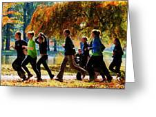 Girls Jogging On An Autumn Day Greeting Card
