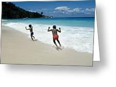 Girls On A Beach Greeting Card