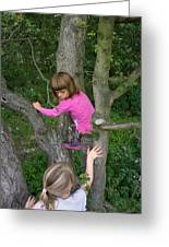 Girls Playing In A Tree Greeting Card