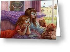 Girls Staring At Tv Greeting Card by Isabella Kung