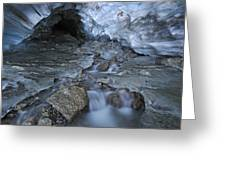 Glacial Creek Flowing From Blue Ice Greeting Card