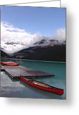 Victoria Glacier Canoe, Lake Louise, Alberta Greeting Card