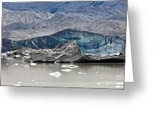 Glacier Tongue Calfing Icebergs Into Glacial Lake Greeting Card