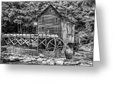 Glade Creek Grist Mill Bw Greeting Card