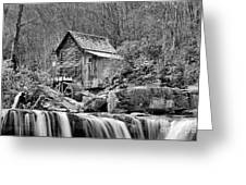 Glade Creek In Black And White Greeting Card