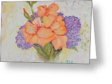Gladioli And Hydrangea Greeting Card
