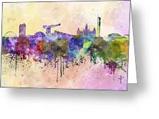 Glasgow Skyline In Watercolor Background Greeting Card