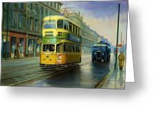 Glasgow Tram. Greeting Card by Mike  Jeffries