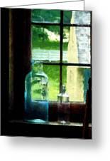 Glass Bottles On Windowsill Greeting Card