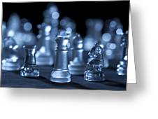 Glass Chessmen Arranged On Black Background Greeting Card