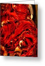 Glass Macro Abstract Crimson Swirls Greeting Card