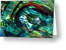 Glass Macro - Blue Green Swirls Greeting Card