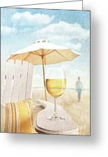 Glass Of  Wine On Adirondack Chair At The Beach Greeting Card by Sandra Cunningham