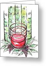 Glass Rosy Wine Greeting Card