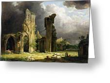 Glastonbury Abbey With The Tor Greeting Card