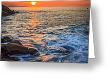 Gleaming Fire At Coitelada Galicia Spain Greeting Card
