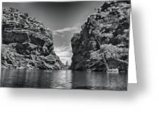 Glen Helen Gorge-outback Central Australia Black And White Greeting Card