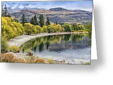Glendhu Bay Lake Wanaka With Autumnal Trees Greeting Card