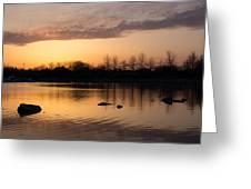 Gloaming - Subtle Pink Lavender And Orange At The Lake Greeting Card