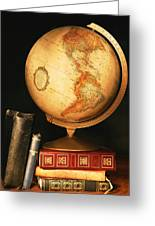 Globe And Books Greeting Card by Don Hammond