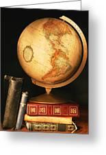 Globe And Books Greeting Card