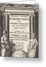 Globe With Two Scholars, Pieter Serwouters Greeting Card