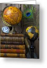 Globes And Old Books Greeting Card