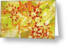 Glory Of The Snow - Lime Green And Orange Greeting Card