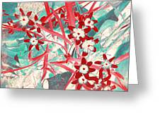 Glory Of The Snow - Red And Turquoise Greeting Card
