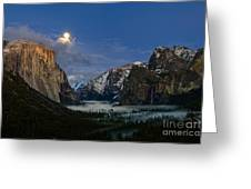 Glow - Moonrise Over Yosemite National Park. Greeting Card