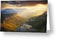 Glow Of The Gods Greeting Card by Peter Coskun