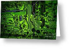 Glowing Green Circuit Board Greeting Card