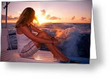 Glowing Sunrise. Greeting New Day  Greeting Card