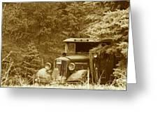 Gm Truck  Sepia Greeting Card